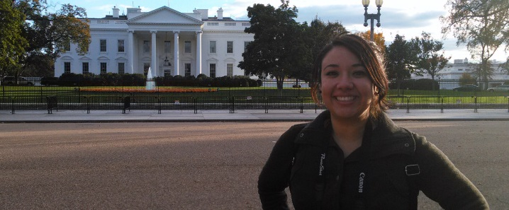 Sandra Hardy, OTF award recipient, in front of the White House, fall 2015.